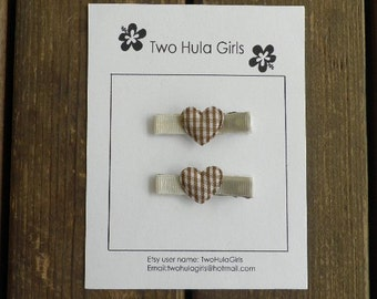 Boutique Clippies ...   Set of 2 Alligator Clips ...   Brown Gingham Hearts