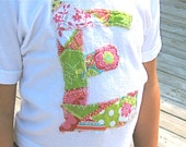 Patchwork tees for kids with letter initial