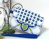 Wallet with Wrist Strap Artic White with Blue and Green Petals