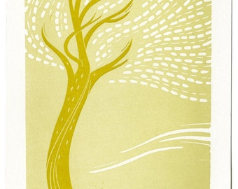 Swoopy Tree - limited edition letterpress print