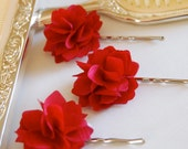 Romantic Red Flower Fabric Bobby Pins or Hair Clips - Set of 2 for Bridal, Weddings, or Everyday Wear