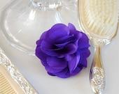 Violet Purple Fabric Flower Brooch or Hair Clip for Bridal, Weddings, or Everyday Wear