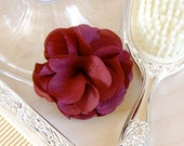 Cranberry Maroon Fabric Flower Brooch or Hair Clip for Bridal, Weddings, or Everyday Wear