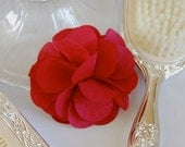 Romantic Rose Red Fabric Flower Brooch or Hair Clip for Bridal, Weddings, or Everyday Wear