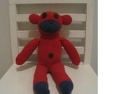 SOLD/ CUSTOM ORDER - Handmade Red and Blue Sock Monkey