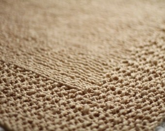 Beige Hand Knit Organic Cotton Blanket