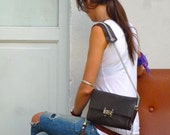 Chain Strap Clutch Brown Leather