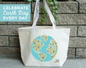 Tote Recycled Cotton Canvas Eco-Friendly Reusable Market Bag - Peace Love Recycle