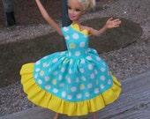 barbie doll dress teal, dandelion polka dotted