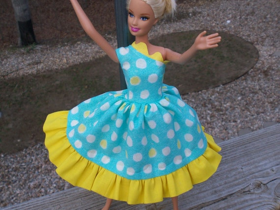 barbie doll dress teal, dandelion polka dotted