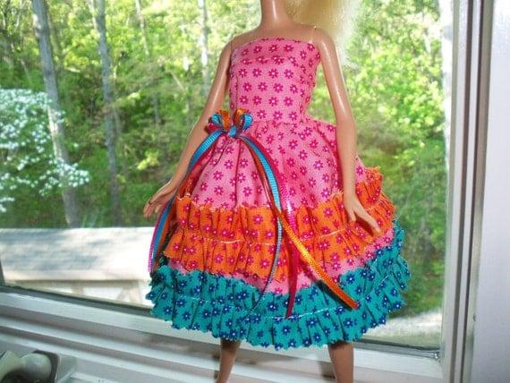 barbie doll dress rhumba ruffles colorful