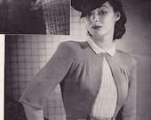 Elegant 1940s 2 Sweater Set Knitting Crocheting Patterns Bust 36 Size s m world war 2 depression era
