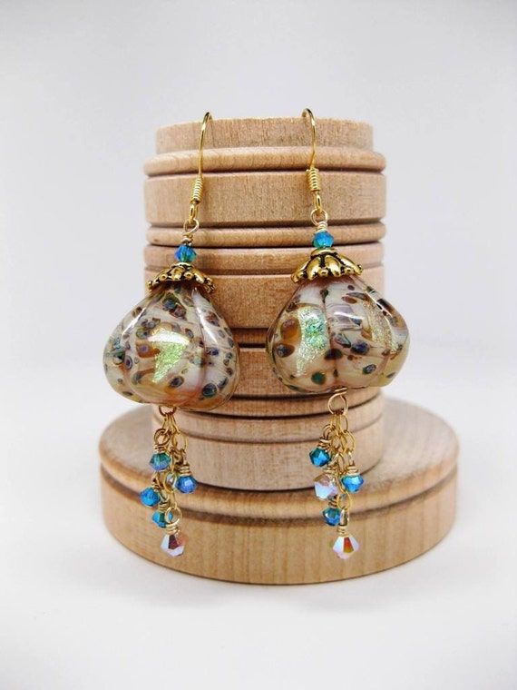 FINAL CLEARANCE BLING Unicorne Borosilicate Earrings With Gold-Filled Findings