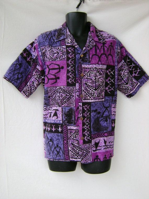 Vintage Mens Hawaiian Barkcloth Aloha shirt XL