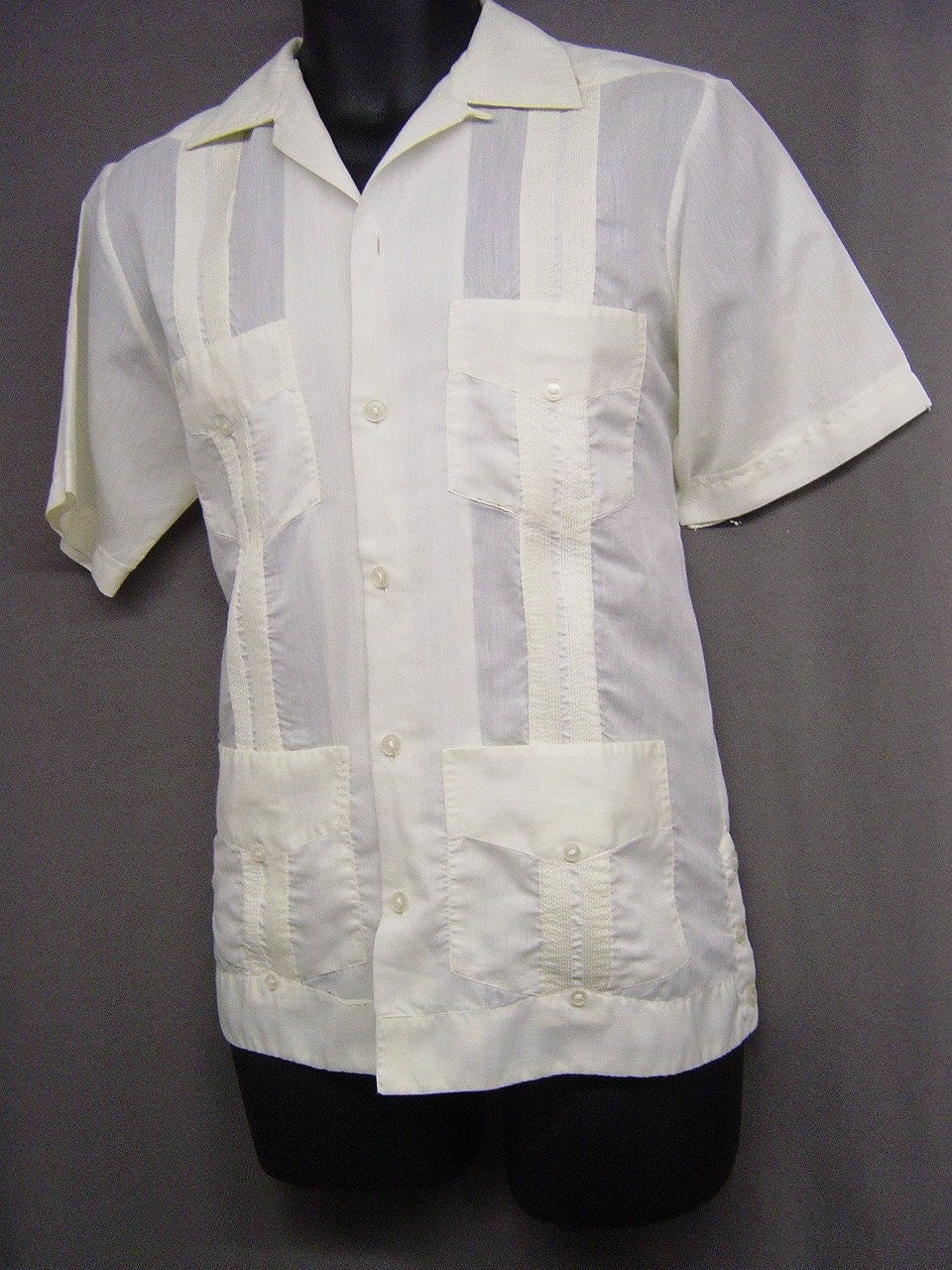 Vintage Mens Loop Collar Guayabera Mexican Wedding Shirt Sm
