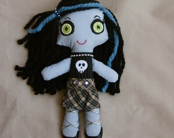 BLUE Zombie Goth Rag Doll