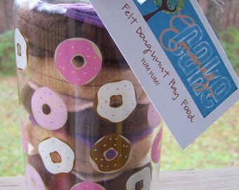 Mini FELT Doughnut Playfood with Matching Container for easy storage