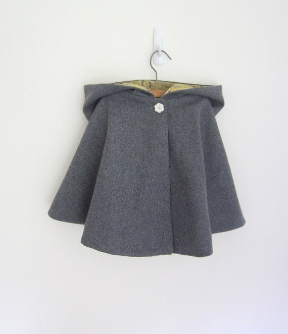 Girls Hooded Cape - yellow - Grey