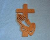 Praying Hands Wooden Wall Cross