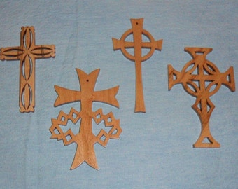 Set Of 4 Wooden Cross Ornaments