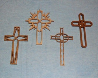 Set Of 4 Wooden Cross Ornaments