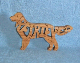 Retriever Dog Breed Handmade Scroll Saw Wooden Puzzle
