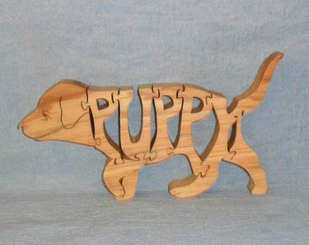 Puppy Dog Handmade Scroll Saw Wooden Puzzle