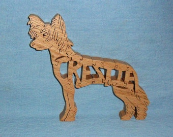 Chinese Crested Hairless (Crestie) Dog Wooden Puzzle