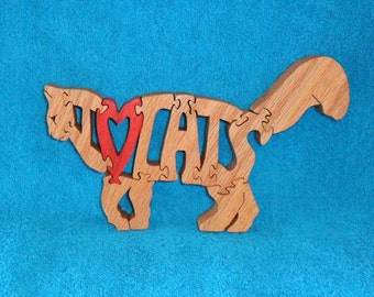 I Love Cats Scroll Saw Wooden Pet Lover Puzzle