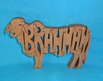 Brahman Cow Scroll Saw Wooden Puzzle