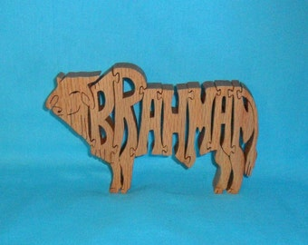 Brahman Bull Wooden Scroll Saw Puzzle