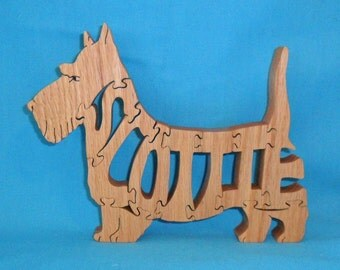 Scottie Dog Scroll Saw Handmade Wooden Puzzle