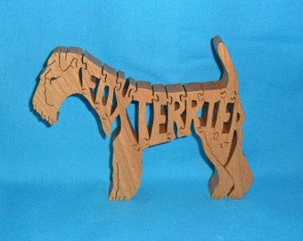 Fox Terrier Dog Breed Handmade Scroll Saw Wooden Puzzle