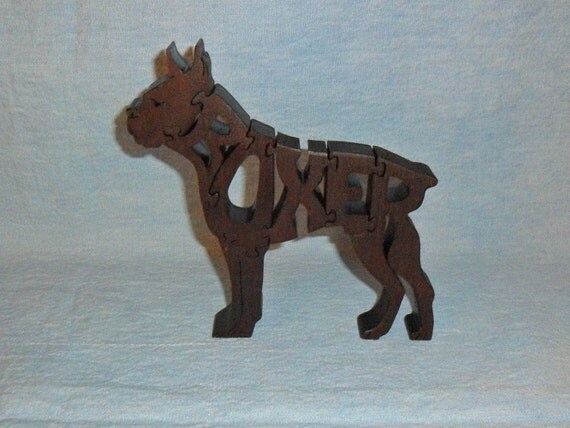 Boxer Dog Handmade Wooden Scroll Saw Puzzle