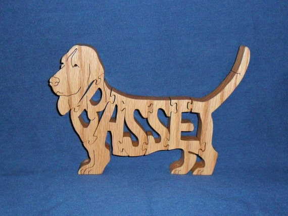 Basset Hound Dog Breed Scroll Saw Wooden Puzzle