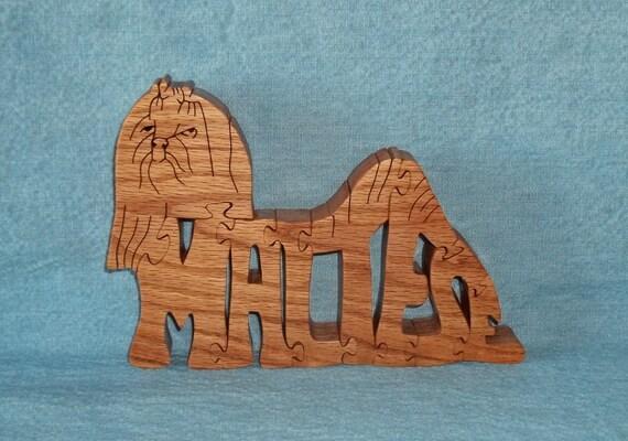 Maltese Dog Wooden Puzzle