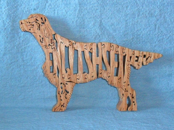 English Setter Dog Breed Scroll Saw Wooden Pet Lover Puzzle