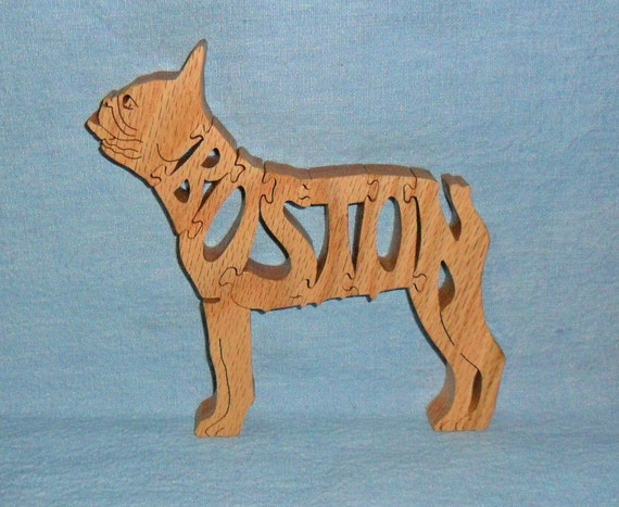Boston Terrier Dog Handmade Scroll Saw Wooden Puzzle