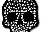 Skull Vespa Scooter Skeleton Vinyl Bumper Sticker