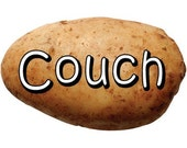 Couch Potato Vinyl Bumper Sticker
