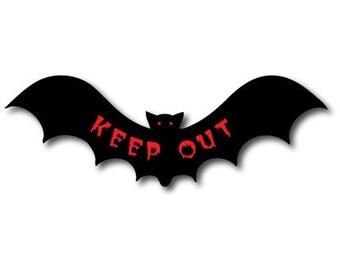 KEEP OUT VAMPIRE bAT Vinyl Sticker