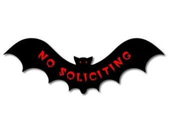 No Soliciting Vampire Bat Vinyl Sticker