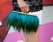 Teal Feather Purse with Gold Fabric for Wedding Prom Evening