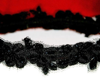 Lace Headband Black with black embroidery and beading