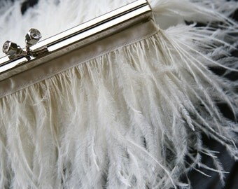 Feather Bridal Purse Cream with Jeweled Swarovski Crystal Clasp and Ivory Ostrich Feathers Prom Evening