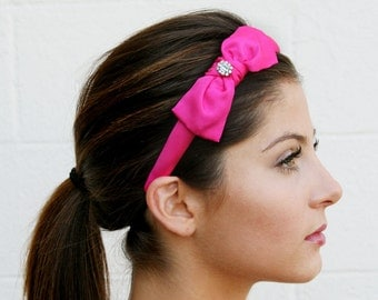 Pink Bow Headband With Swarovski Crystal Embellishment