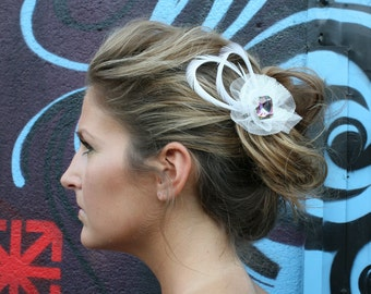 White Wedding Feather Barrette Hair Clip with Irridescent Multi-Colored Crystal Stone and WhiteNetting