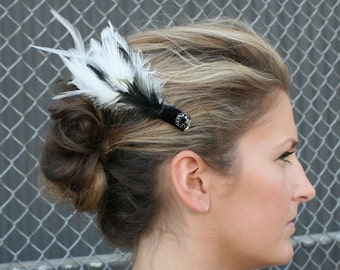 Black Cream Bridal Hair Clip with Feathers and Swarovski Crystals