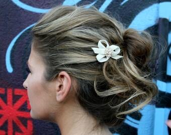 Bridal Hair Cream Barrette With Swarovski Crystals And Velvet Ribbon