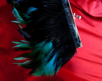 Feather Purse Clutch with Turquoise and Black feathers and Jeweled Clasp